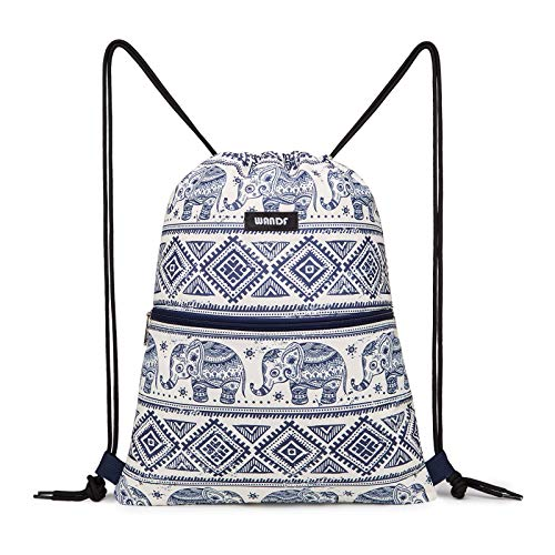 Drawstring Backpack String Bag Sackpack Cinch Water Resistant Nylon for Gym Shopping Sport Yoga by WANDF (A-Blue Elephant with zipper)