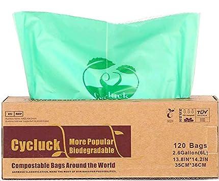 Cycluck 120 Bolsas 6L Bolsa de Basura ecológica 100% Biodegradable y Compostable, con EN 13432 Hecho de Almidón de Maíz (6L)