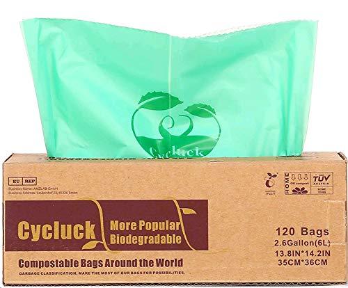 CYCLUCK 120 Stück 6L 100{79d45bffe11bfa57ca3b855f79a957e24de99c64403e6e8244dd0f731b6c874b} Kompostierbare Müllbeutel 6L 10L 30L Biologisch Abbaubare Tüten Hergestellt aus Maisstärke für den Küchenmülleimer DIN EN 13432 (6L)