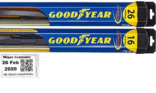 Hybrid - Windshield Wiper Blade Set/Kit/Bundle for 2015-2019 Lincoln MKC - Driver & Passenger Blades & Reminder Sticker