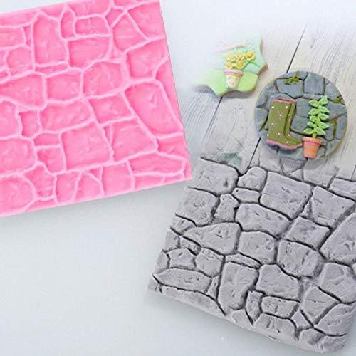 Molde de silicona 3D de jardín de piedra de roca de pared de granja de castillo antiguo molde de pastel de Fondant de Chocolate decoración de pan Diy molde de galletas para hornear