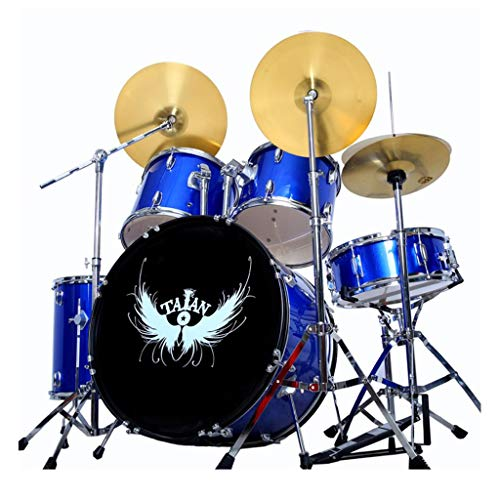 Basstrommeln Percussion Drums Adult Kinderselbstlern-Jazz Anfänger Praxis Professionelle Spiel Drum Set Hardware Robust (Color : Blue, Size : 120 * 150CM)