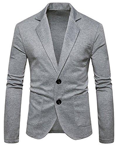 Whatlees - Chaqueta de punto para hombre con botón de contraste y cremallera, estilo informal Gris B936-gris claro M