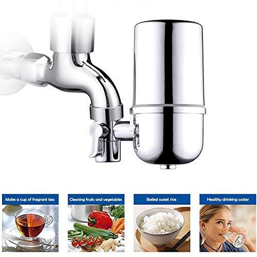 YOMERA Wasser Filtersystem, Waserfilter Wasserhahn Küche Faucet Filter Wasserhahn Verhindern mit Wasser Filterkartuschen für Küche Gesunder Lebensstil (Silber)