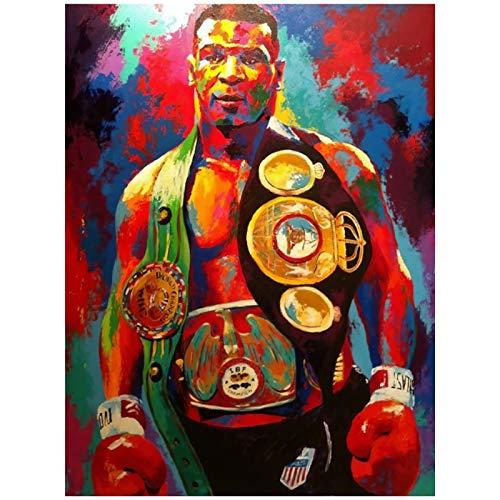 SDGW Boxing Champion Tyson Canvas Posters and Prints Street Art of Ironmike Pinturas Al Óleo Imágenes Decoración De La Habitación del Hogar-50X75Cm Sin Marco