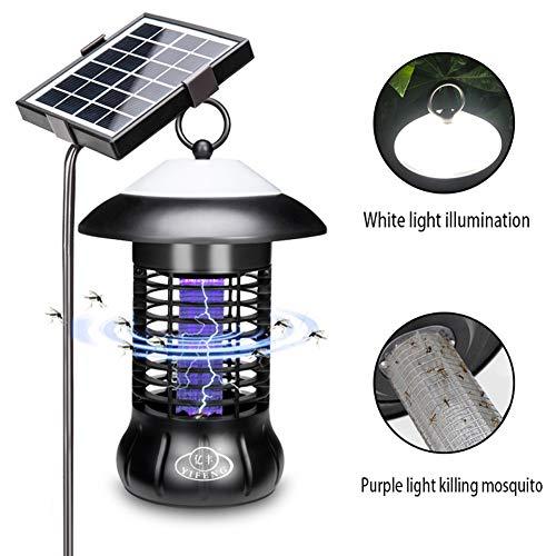 NAFE Moskito-Killer-Lampe, wiederaufladbare Solar-Moskito-Killer-Außenbeleuchtung, wasserdichter LED-Insektenvernichter mit lila Licht, USB-Aufladung, Geeignet für den Außenbereich