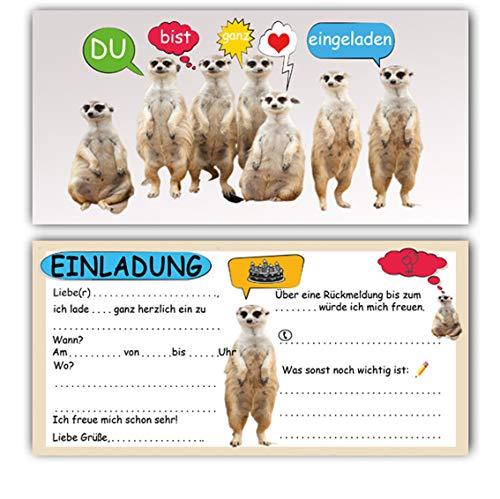 Erdmännchen Einladungskarten (12 Stück) Partyeinladung Geburtstag Kinder Erwachsene Junge Mädchen lustig witzig Kindergeburtstag