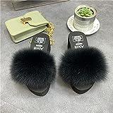 Chanclas Mujer Verano 2019,Zapatillas Peludas, Verano Nuevas Zapatillas De Cuero Anti-Zorro Anti-Zorro, Flip-Flamps De TacóN De CuñA De Plataforma, Zapatos De Plataforma De Sandalias De TacóN Alto-36