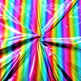 STOFFKONTOR Stretch Folienjersey Stoff Regenbogen Streifen