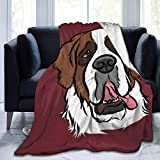 Idealism Charm Saint Bernard Dog Home Fashion Designs Flannel Fleece Microfiber Throw Blanket Lightweight Cozy Couch Bed Super Soft and Warm Plush 3 Sizes