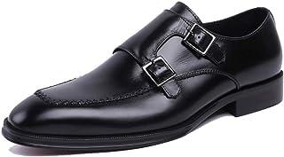 Banquet Wedding Dress Shoes,Men's Buckle Monk Shoes Business Leather Shoes Retro Cowhide Footwear,Black- 39/UK 6.5/US 7