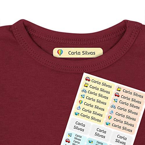 Etiquetas termoadhesivas personalizadas con tu texto | Etiquetas para la ropa, con dibujos y texto personalizado. 40 U. en hoja laminada FUNNY VEHÍCULOS