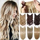 60cm Secret Wire in Hair Extensiones de cabello con hilo invisible Recto Extensiones de cabello de un solo cabello 3/4 Cabeza completa Negro oscuro