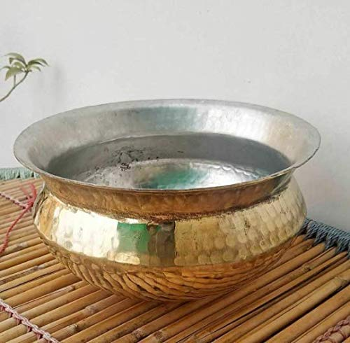 Brass Cooking Handi Tope Pot with Lid, Pithal Biriyani Tope, Peetal Degchi 2 L For Chicken Biryani Meall,1 Day dispatch,3 to 5 Days Delivery