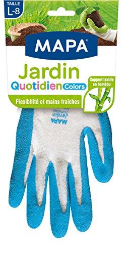 Mapa - Jardin Quotidien Colors - Gants de Jardinage enduction latex et textile bambou - Souples et absorbants - 4 paires - Taille 8/L - Coloris Aléatoire Vert/Bleu/Gris