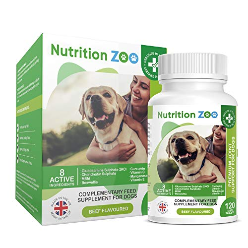 NutritionZoo Dog Joint Care Supplements - Glucosamine for Dogs 120 Tablets - Joint Supplements for Dogs Premium Glucosamine and Chondroitin for Dogs 120 Glucosamine Dog Tablets