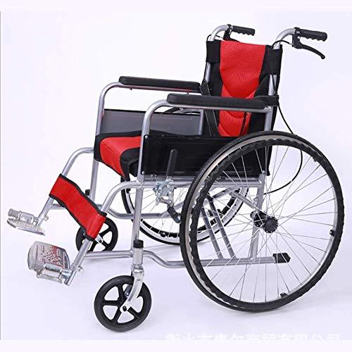 YAeele stoßfest Leichte faltrollstuhl Driving Medical Adult Medizintechnik, bewegliche Cave Chair Ultra Light Ältere Behinderte Wagen Stuhl Tragbarer Bus-Reise-Stuhl, bewegliche Fußstütze, breit