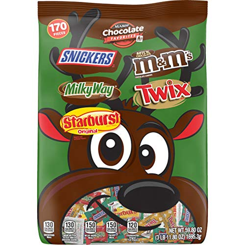 M&M'S, SNICKERS, TWIX, MILK WAY & STARBURST Fun Size and Minis Size Christmas Chocolate Candy Assortment, 59.8-Ounce Bag (170 Pieces)