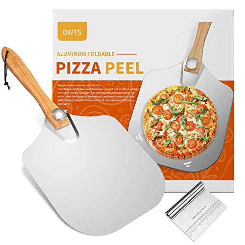 Premium Aluminum Large Pizza Peel 12 inch | DWTS Metal Pizza Spatula with Foldable Wood Handle for Easy Storage,Good Helper for Baking,Homemade Pizza and Bread. …