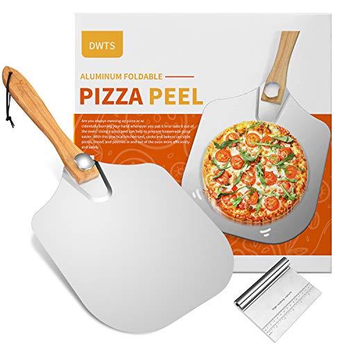 Pala de aluminio de alta calidad para pizza de 30,5 cm   Espátula de pizza de metal DWTS con mango de madera plegable para un fácil almacenamiento, buen ayudante para hornear, pizza casera y pan.