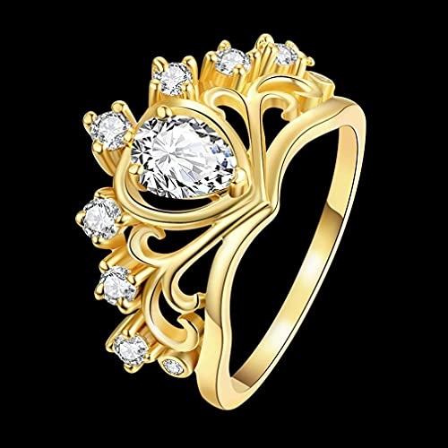 Fashion Women Ring Hollow Crown Design with Shiny Zircon Luxury Jewelry Gold Color 7