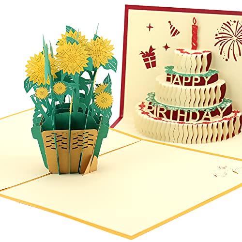 FayTun Tarjeta de Felicitación 3D Pop-up,Tarjetas Regalo con Sobres, Las Mejores Ideas de Regalos para Cumpleaños, Bodas y San Valentín,2PCS:Girasol + Pastel de cumpleaños