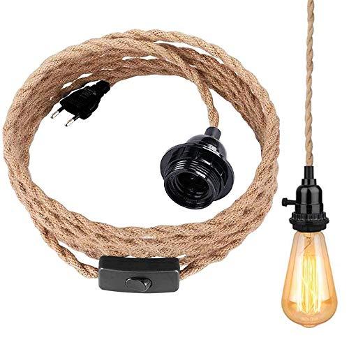 Lámpara colgante Kit con interruptor, portalámparas E27 con 4,5 metros de cuerda de cáñamo trenzada, lámpara colgante vintage para dormitorio, cocina, bar, base, almacén, granja (sin bombilla)