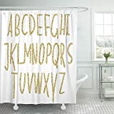 Not applicable Duschvorhang Funkelndes Alphabet Goldene Luxusbuchstaben Shiny Glam Abstract ABC Duschvorhang-Sets,72X72 In