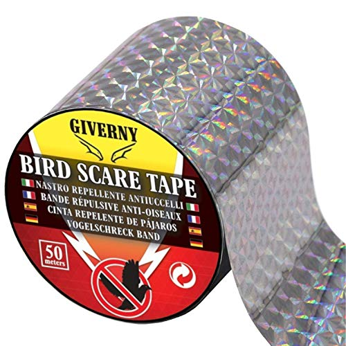 GIVERNY - Banda Reflectante para pájaros (50 m), Color Amarillo