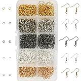 TOAOB 1150 Stück 18x19mm Metall Ohrring Haken Ohrhaken mit Kugel Spule und 4mm Biegeringe Set Mehrfarbig für DIY Ohrringe Schmuckherstellung