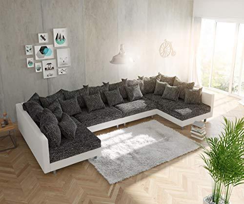 DELIFE Couch Clovis modular - Ecksofa, Sofa, Wohnlandschaft & Modulsofa (Schwarz/Weiss, Sofa XL)