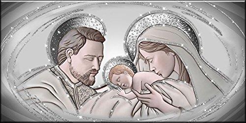 Deco Italia Quadro Sacro Capezzale Santa Famiglia The Kiss Ceramic Argento con Glitter | 115 x 62 cm