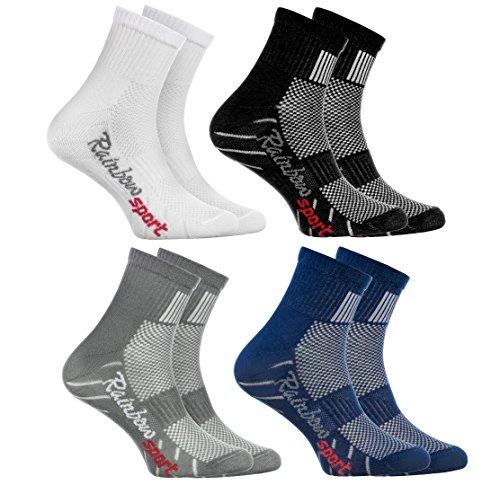 Rainbow Socks - Jungen Mädchen Sneaker Bunte Baumwolle Sport Socken - 4 Paar - Weiß Grau Blau Schwarz - Größen 30-35