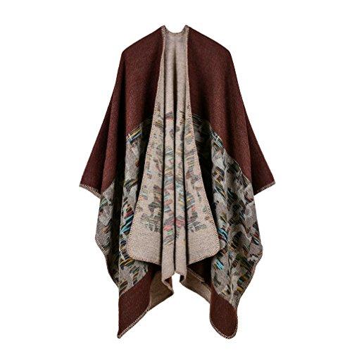 Bakerdani Womens Winter Wrap Blanket Poncho Cape Shawl Cardigans Sweater Coat,Coffee,One size:130150cm