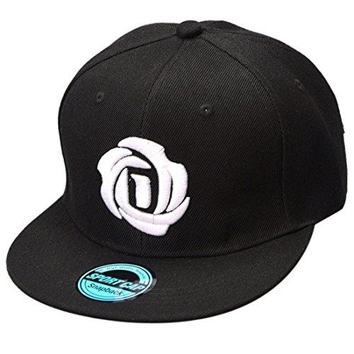 THENICE broderie Fleur Casquette de baseball Hip Hop Cap Unisexe (noir)
