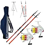 Kit 2 pz Canna Surfcasting Catcher 390 + 2 Pz Mulinello Trabucco Avalon 6500 + Fodero in Cordura...