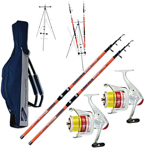 Kit 2 pz Canna Surfcasting Catcher 390 + 2 Pz Mulinello Trabucco Avalon 6500 + Fodero in Cordura 175cm + TRIPODE SURFCASTING