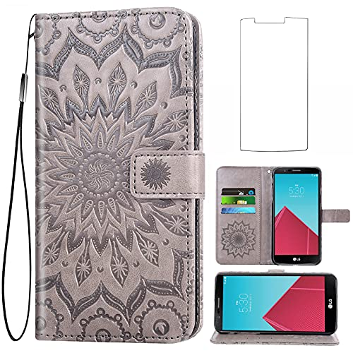Asuwish Phone Case for LG G4 Wallet Cases with Tempered Glass Screen Protector and Sunflower Leather Slim Flip Cover Card Holder Stand Cell Accessories LGG4 LG4 4G Women Men Gray