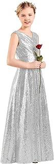 Long Junior Bridesmaid Dress Sequin Flower Girl Dress Formal Wedding Party Pageant Maxi Dress Dance Ball Gown