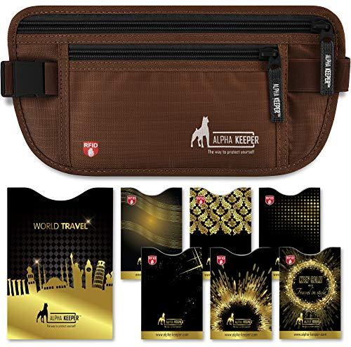 Portadocumentos Viaje Tipo cinturón de Viaje con Bloqueo RFID - Incluye Set de Funda Pasaporte y Tarjetas con Bloqueador RFID para Uso Diario