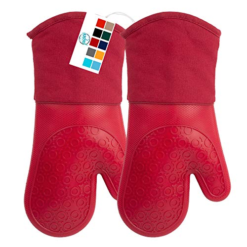 POPCO Professional Silicone Oven Mitt, Oven Mitts with Quilted Liner, Heat Resistant Pot Holders,...