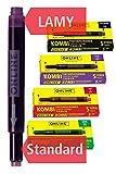 ONLINE 20x kompatible Lamy Patronen bunt, Universal-Tintenpatronen, für alle gängigen Füller, Ersatz-Patronen, Vorteilspack rot, grün, schwarz, lila