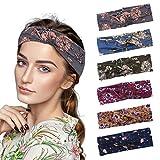URAQT Diadema Mujer, 6PCS Turbantes para Mujer, Diadema para el Cabello, Diadema para Mujer con Nudos, ancho de 3.0 Pulgadas, Bandana de Yoga, Banda para el Sudor, Multicolor