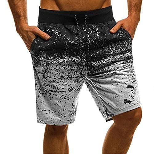 UKKD Herrenshort - Pantalones cortos para hombre para hombre, pantalones cortos de moda, con cordón, para verano, estilo hip hop, color gris claro, talla Xxxl