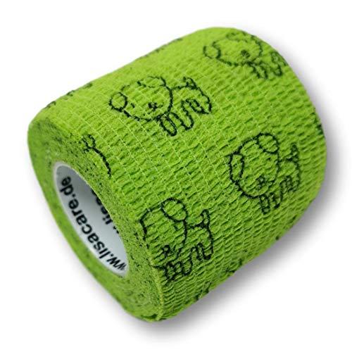 LisaCare Kohäsive Bandage 2er-Set - selbsthaftend, elastisch, 5cm breit für Mensch & Tier - Fixierbinde für Sport Arbeit Reiten - Hund grün