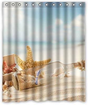 Waterproof Mildew Resistant Beach Themed Starfish Custom Bathroom Shower Curtain,72 x 72 Inch