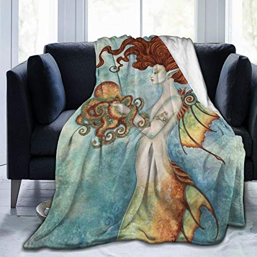"""AMITAYUS Mermaid and Octopus Fleece Throw Blanket Lightweight Super Soft Flannel Bed Blanket Perfect Home Decor for Couch Chair Sofa Living Room 80""""X60"""" Large"""