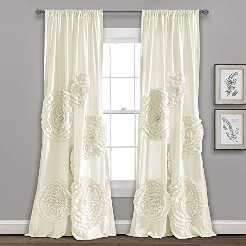 """Lush Decor, Ivory Serena Window Panel for Living, Dining Room, Bedroom (Single Curtain), 84"""" x 54 L"""