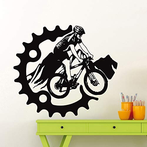 Mountain Bike Wall Sticker Bicycle Bike Wall Decal Vinyl Home Garage Decoration Interior Room Decoration Waterproof Mural 65X57Cm