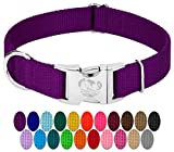 Country Brook Design - Vibrant 26 Color Selection - Premium Nylon Dog Collar with Metal Buckle (Medium, 3/4 Inch, Purple)